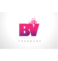 Bv b v letter logo with pink purple color and vector