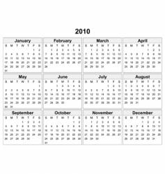calendar of 2010 year vector image