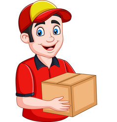 cartoon delivery courier holding cardboard boxes vector image