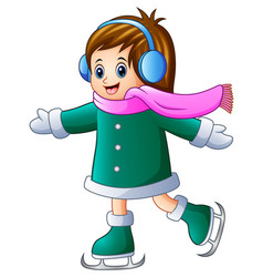 cartoon girl playing ice skates with listening mus vector image