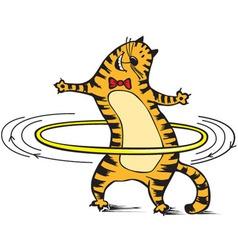 Cat rotates hoop vector