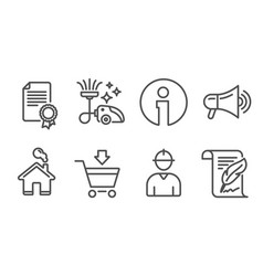 Certificate megaphone and vacuum cleaner icons vector