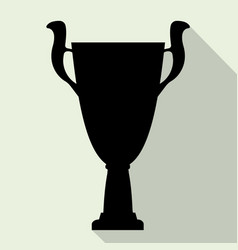 Champion cup in flat style with shadow vector