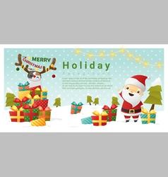 Christmas background Merry Christmas with Santa vector image