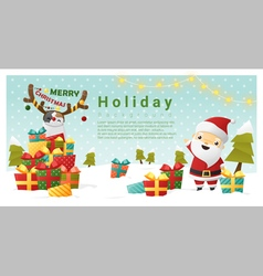 Christmas background merry with santa vector