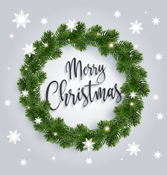 christmas fir-tree wreath on white background vector image