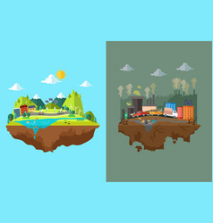 comparison clean city and polluted city vector image