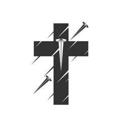 Cross jesus christ pierced with nails vector