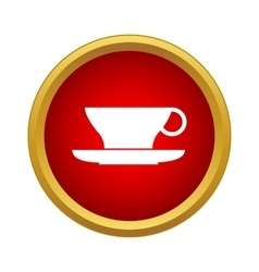 Cup and saucer icon in simple style vector