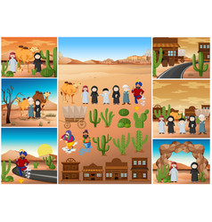 desert scenes with people and buildings vector image