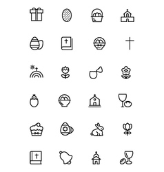 Easter line icons 2 vector