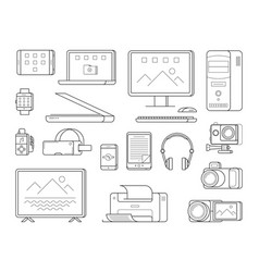 electronic office devices and person gadgets vector image