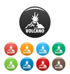 Erupting volcano icons set color vector