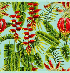 exotic flowers and banana leaves painting vector image