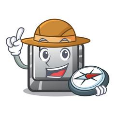 Explorer button t in keyboard cartoon vector