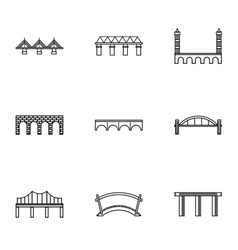 Facility for crossing river icons set vector image