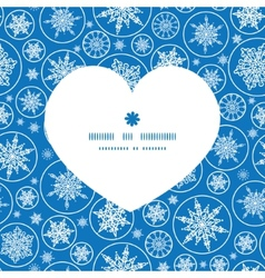 Falling snowflakes heart silhouette pattern frame vector