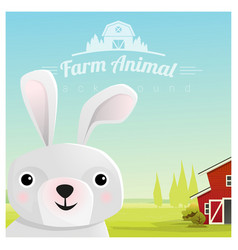 farm animal background with rabbit vector image