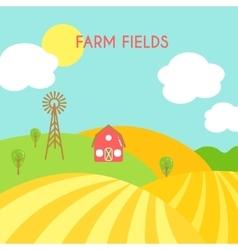 Farm fields landscape Cartoon green field of vector