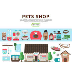 flat pets shop elements collection vector image
