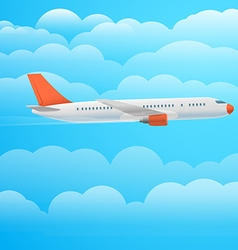 Flying aircraft in the sky flat design vector