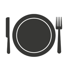 Fork knife dish cutlery silhouette icon vector