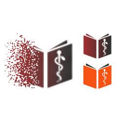 Fragmented pixel halftone drug handbook icon vector