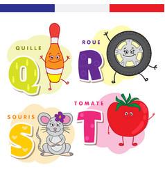 French alphabet skittles wheel mouse tomato vector