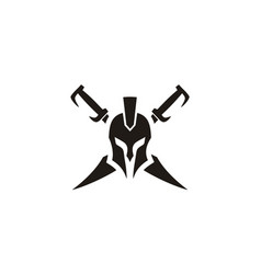 Geek spartan warrior helmet sword armor logo vector
