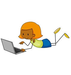 Girl and computer vector image