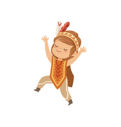 girl wearing native indian costume and headdress vector image
