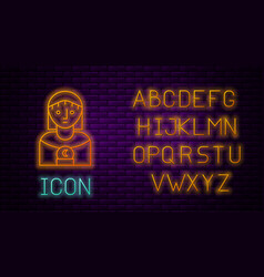 Glowing neon line astrology woman icon isolated vector