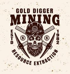 Gold digger bearded skull in helmet emblem vector