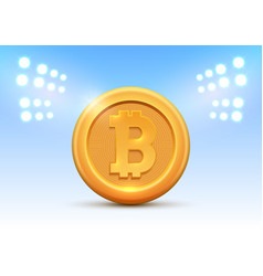Golden coin bitcoin sign money and finance symbol vector