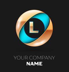 golden letter l logo symbol in blue-golden circle vector image