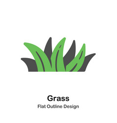 grass outline flat vector image