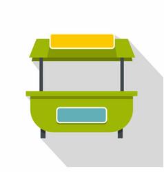 Green street kiosk icon flat style vector