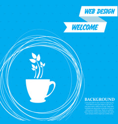Green tea icon on a blue background with abstract vector