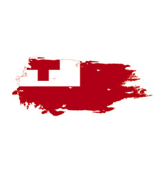 Grunge brush stroke with tonga national flag vector