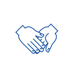 hand in hand line icon concept hand in hand flat vector image