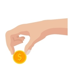 Hand with Coin vector image