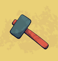 handdrawn hammer for construction vector image