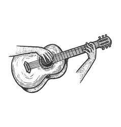 hands playing acoustic guitar sketch engraving vector image