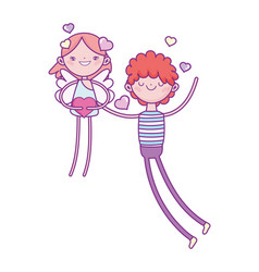 happy valentines day young man in love with cupid vector image