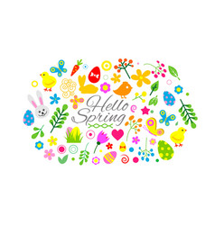 hello spring and easter collection cute animals vector image