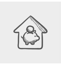 House savings sketch icon vector image