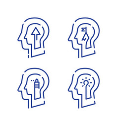 Human head profile and arrow growth mindset vector