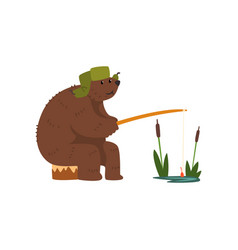 humanized male bear character catching fish with vector image