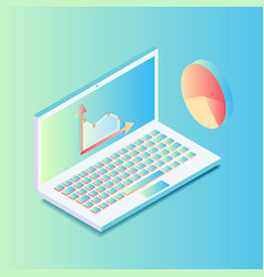 isometric laptop with graphics in gradient colors vector image
