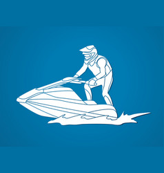Jet ski action sport man riding water scooter vector